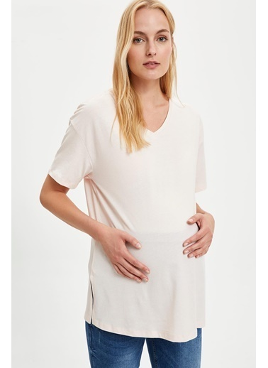 DeFacto Relax Fit Kısa Kollu Hamile T-Shirt Pembe